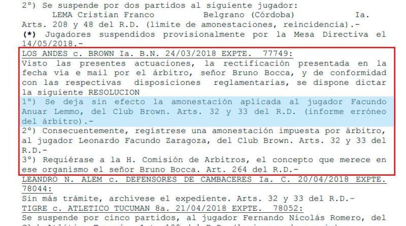 Brown de Adrogué reclamó la sanción de Lemmo